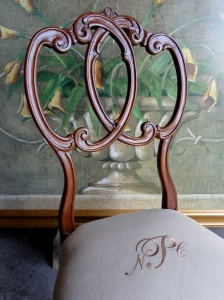 Stripped & refinished.  Monogramed linen--!