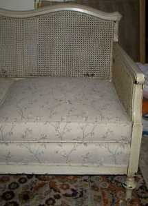 my caned sofa---BEFORE