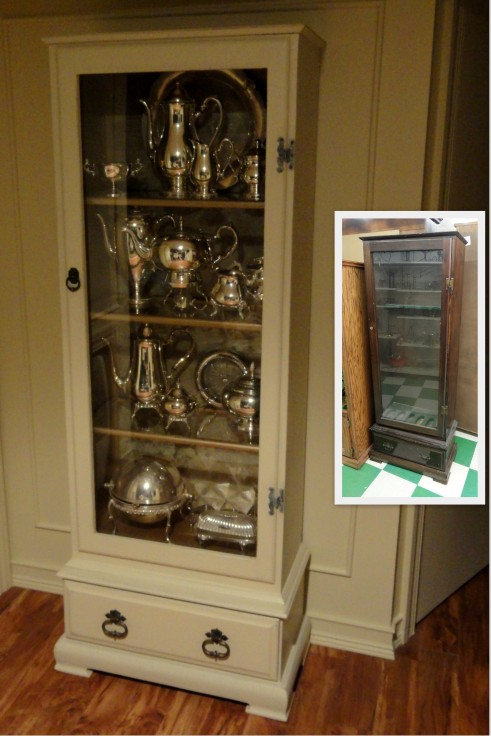 before and after---gun cabinet to silver cabinet!