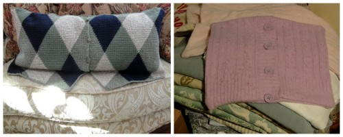 sweaters made into pillows!