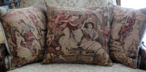 the tapestry cut into pillows