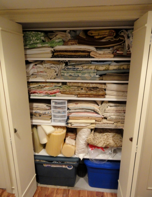 the closet filled with fabrics now!