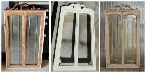 making a mirror from 2 leaded glass cabinet doors---
