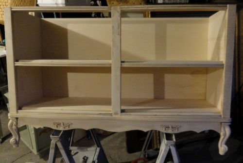 turning a french provincial dresser a f.p. bookcase