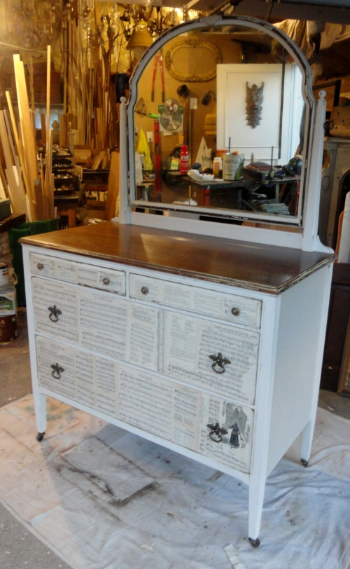 a makeover for the green dresser--