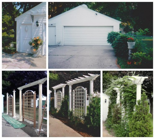 garage face and pergola privacy structures