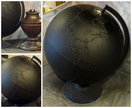 my $3 thrift store globe OUTLINED and CHALKBOARD PAINTED!