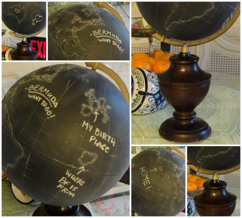 my chalkboard globe and stand