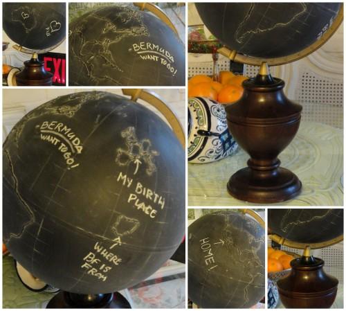 my chalkboard globe and stand