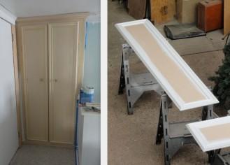 the linen closet doors--