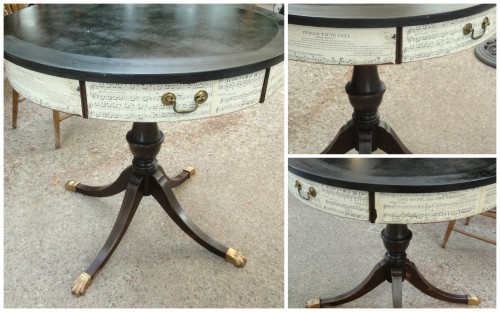 the drum table now decoupaged--