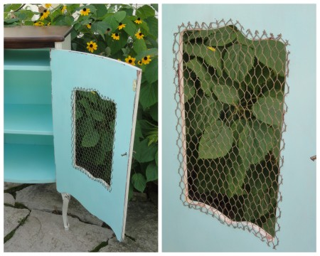 the old record cabinet--adding chicken wire