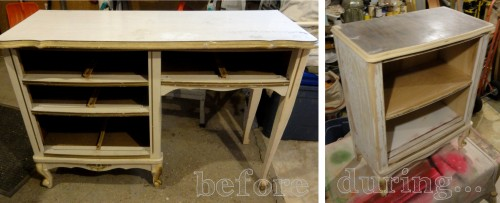 from French Provincial desk to small bookcase/nightstand