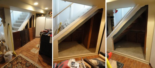 creating storage under the stairs--