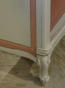 detail of the French Provincial bookcase