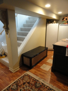 under the stairs--in the kitchenette