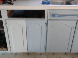 repainting the base cabinets--