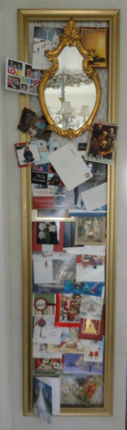An over sized chicken wire picture frame to display cards!