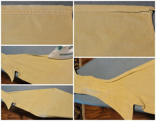 "prepping to ""hem"" the raw edges"