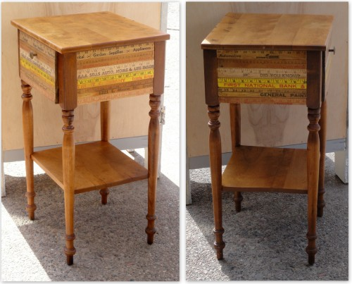 The side table REvamped with stain and vintage yard sticks!