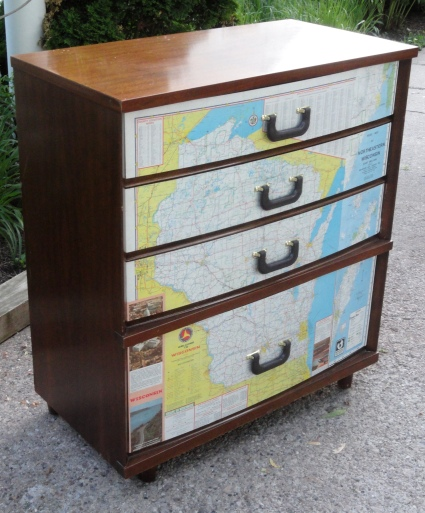 Craigslist dresser--another map and luggage handle finish