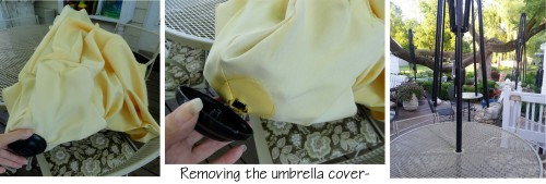 freshening up the patio umbrellas-