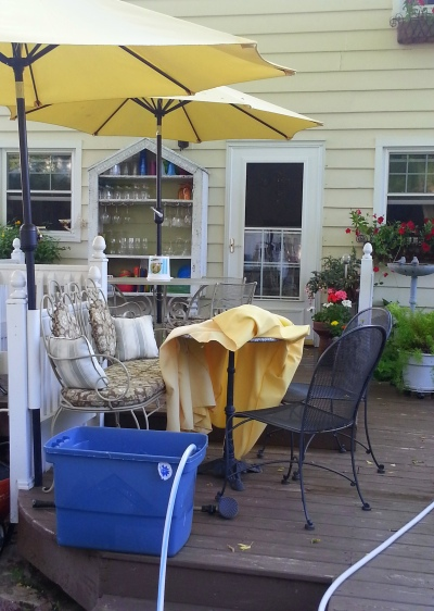 the very sun-faded patio umbrellas-