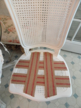 working on the new caned chair-