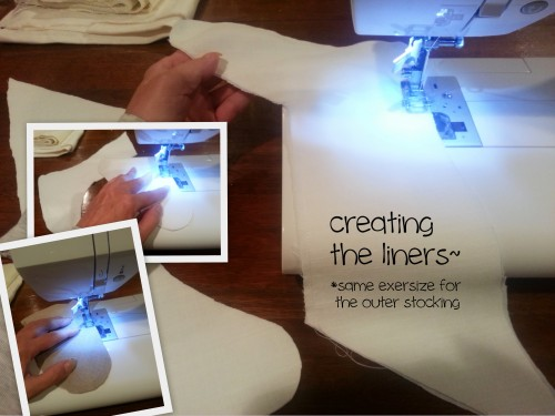 sewing the cutout sides together-