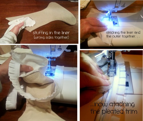 sewing the liner and outsides together and adding the trim-
