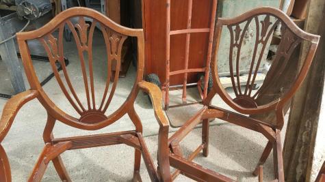 Fleur de lis Shield-back chairs!