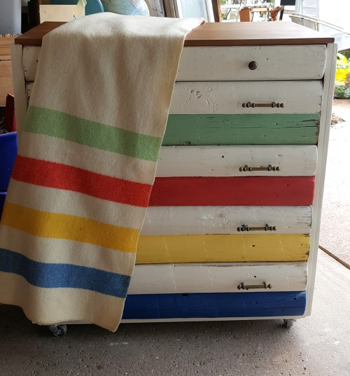 my interpretive Hudson's Bay Blanket dresser