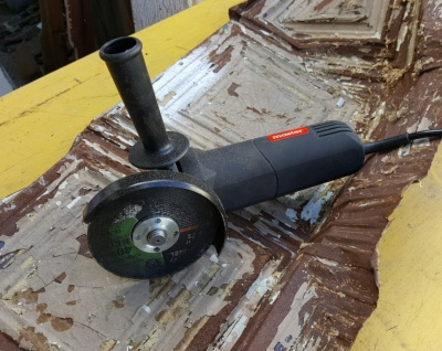 My newest tool--the angle grinder!