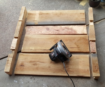 "a pallet made up of 1""+ thick boards"