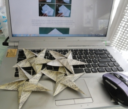 making my Christmas oragami stars