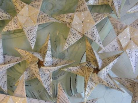 my origami stars~glitter and gold leaf!