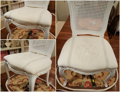 REupholstering the caned chair with a grain sack