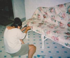 ME~working on the banquette