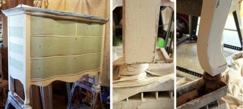 working on the Victorian dresser