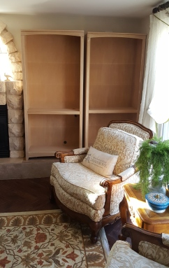 a simple pair of solid wood bookcases
