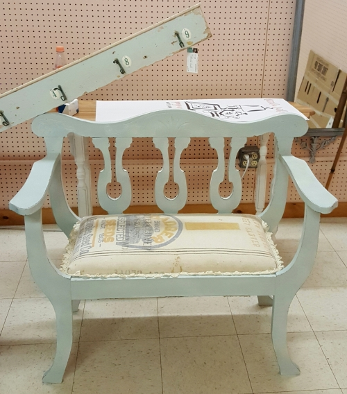 an entry hall bench~ UPHOLSTERY