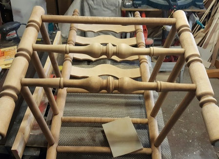 sanding the French country ladder back chairs