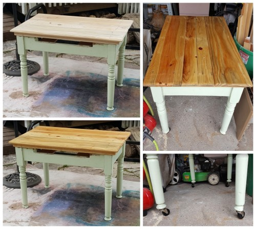 the old farm table~ now a desk!