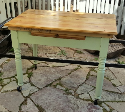 the old farm table made into a desk now!