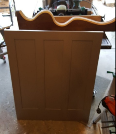 a wainscoting panel, and some 5/4 board to begin