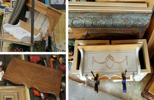 salvaged sewing machine shelves