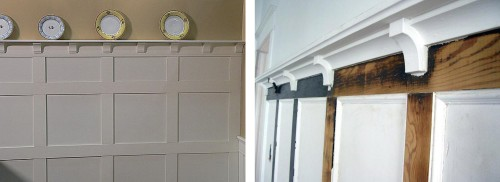 corbels in a chair rail/plate rail