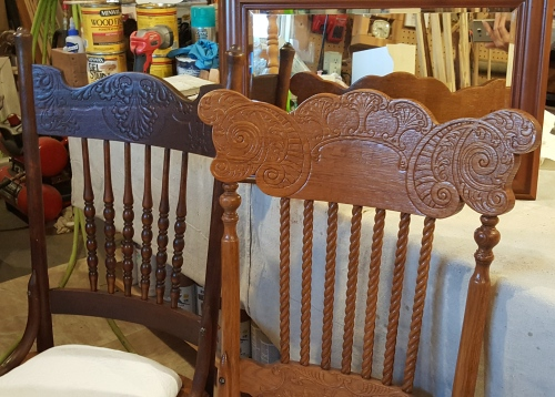 mismatched PRESSED BACK chairs