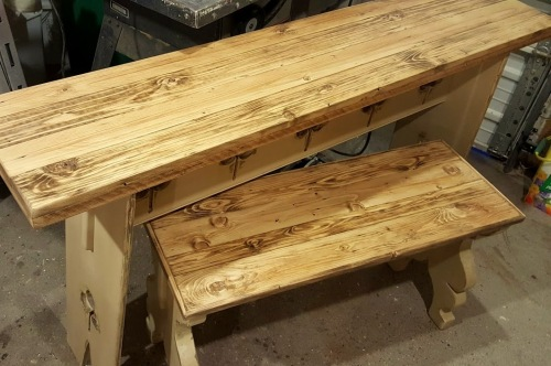 the tops to the Trefoil table and bench