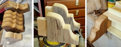 making corbels for the birdhouse
